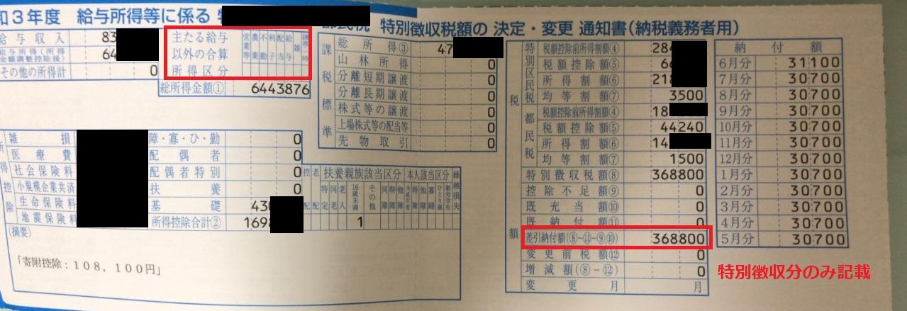 会社からもらう住民税通知書(特別徴収分)