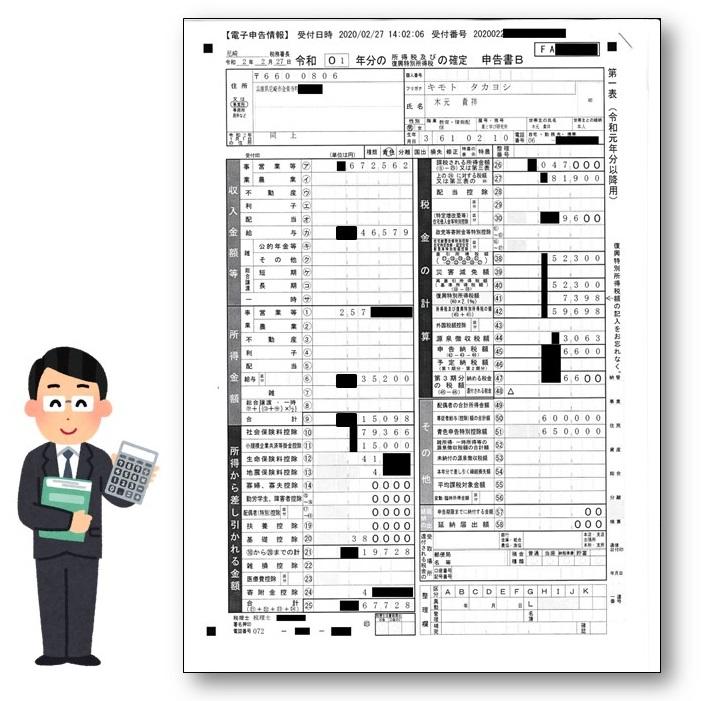 木元氏の確定申告書|税理士の税務署類作成